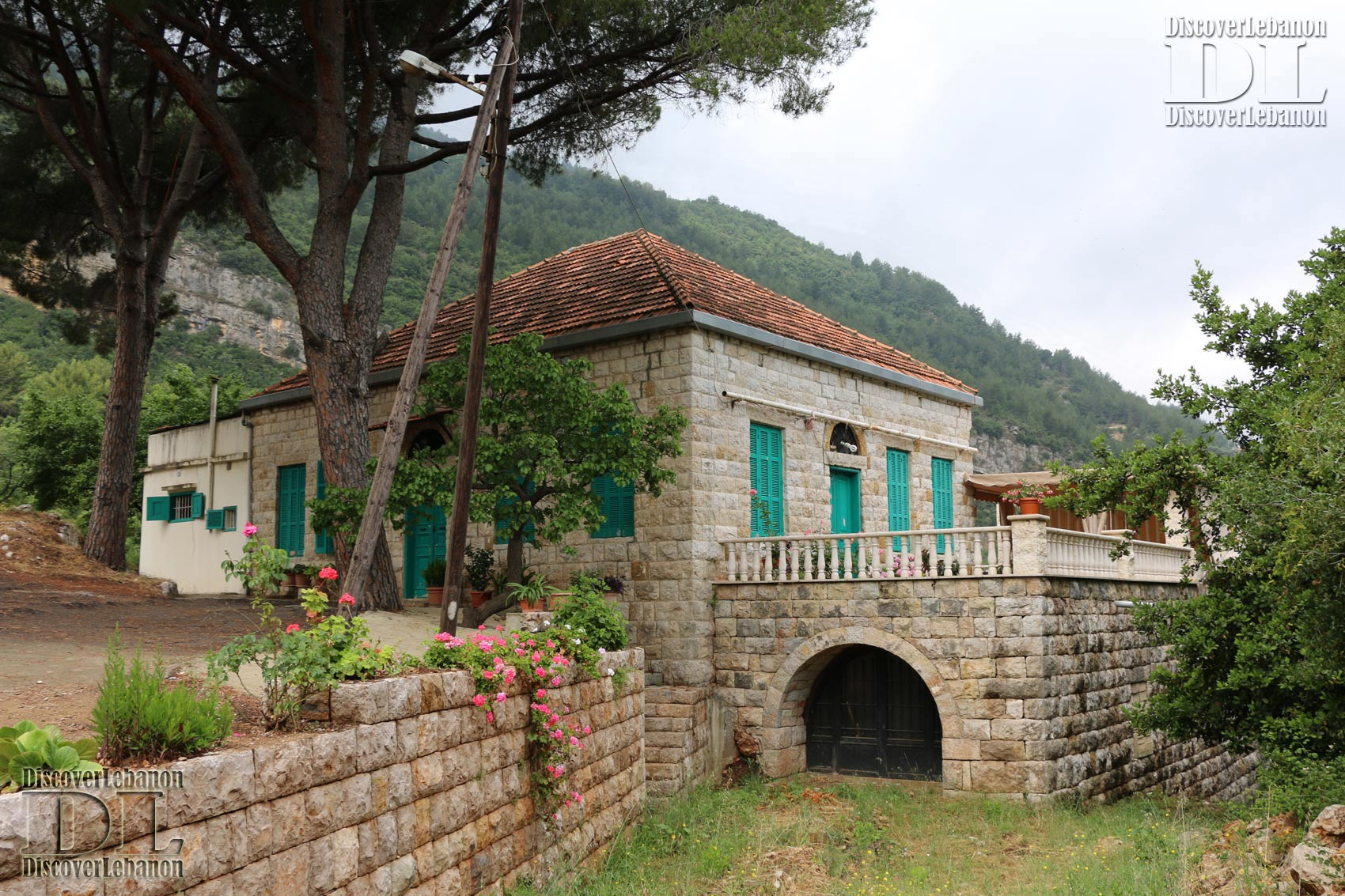 Old House Mount Lebanon Yahchouch Village Red Roof House Pine Tree And Flowers