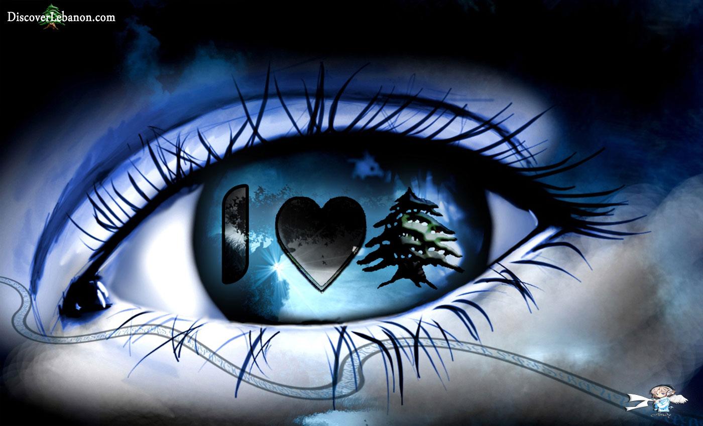 Download free wallpapers, computer wide design Love Lebanon Eye